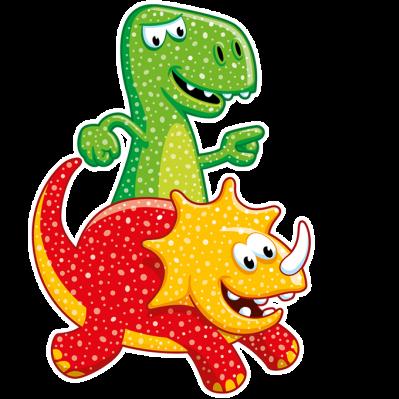 Illustration der Sauerier Dose: grüner und orange-roter Dinosaurier