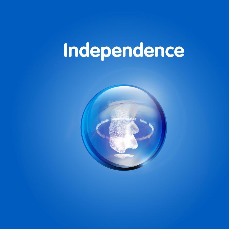 Изображение золотого мишки в прозрачном шаре на синем фоне с текстом «Независимость»