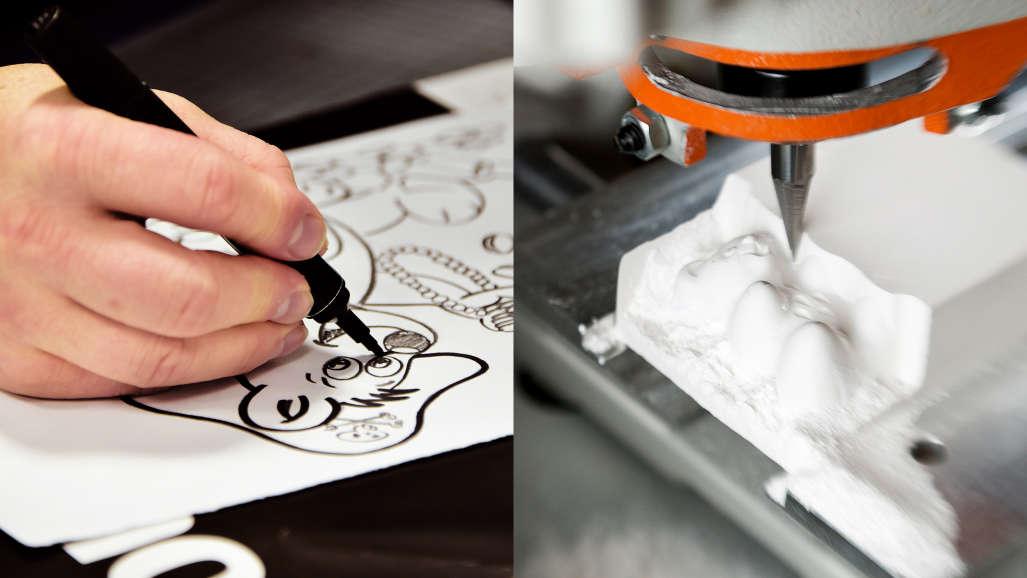 Desenho: figurinha para a bala e protótipo da figurinha