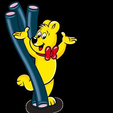 Illustration der Balla Stixx Raspberry Beutel: HARIBO Bär mit Balla Stixx Stangen