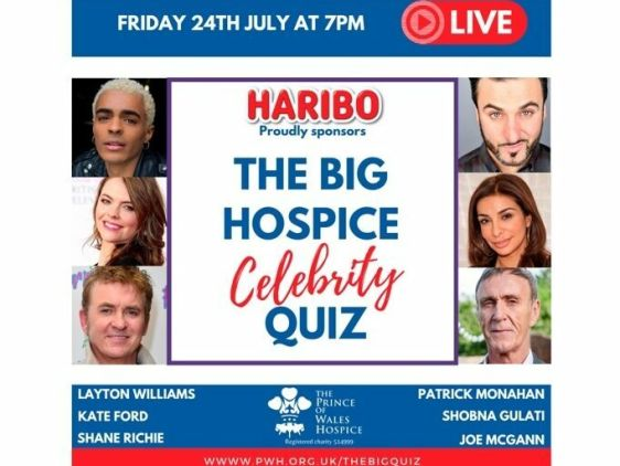 The Prince of Whales Hospice Celebrity Quiz with Joe McGann, Shobna Gulati, Kate Ford, Layton Williams, Patrick Monahan and Shane Richie, live on 24th July at 7PM