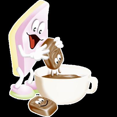 Illustration der Chamallows Soft Kiss Beutel: Chamallows Rombus mit Kakao-Tasse