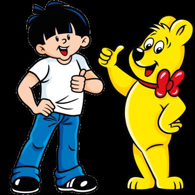 Illustratio der Color-Rado beutel: Junge und HARIBO Bär zeigen den Daumen nach oben