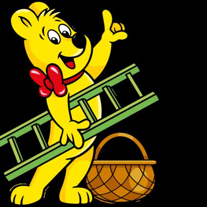 Goldbear with basket and ladder