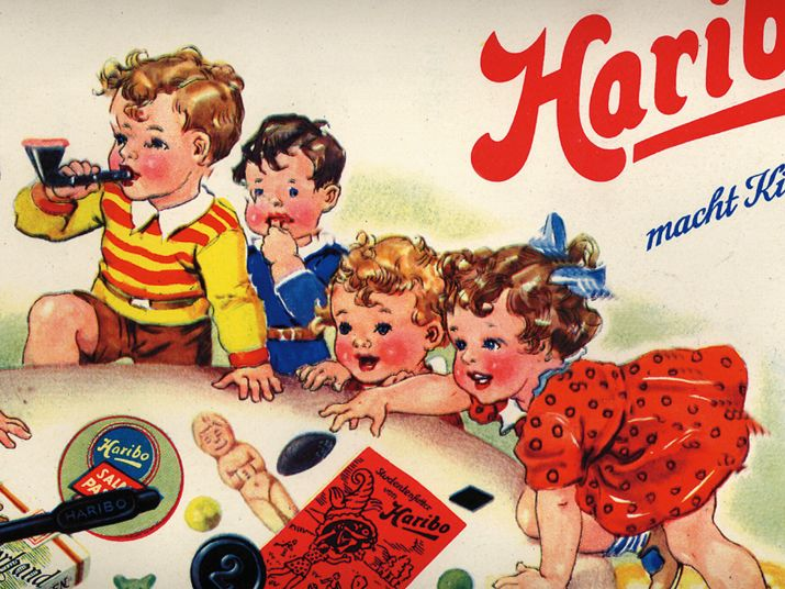Historic HARIBO advert featuring a drawing of  kids enjoying fruit gums and liquorice specialties.