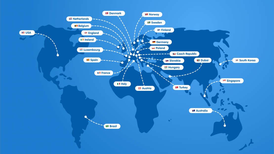 世界中にあるHARIBO支社のイラストマップ