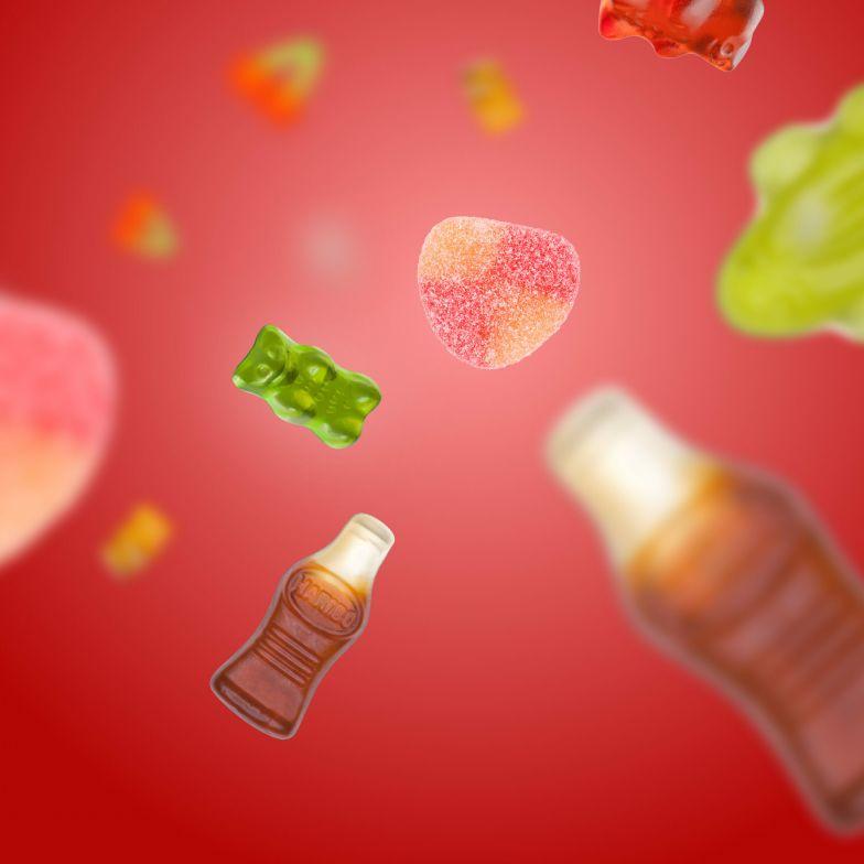 Fliegende HARIBO Fruchtgummis